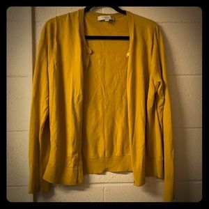Loft Sweater Cardigan Yellow Buttons